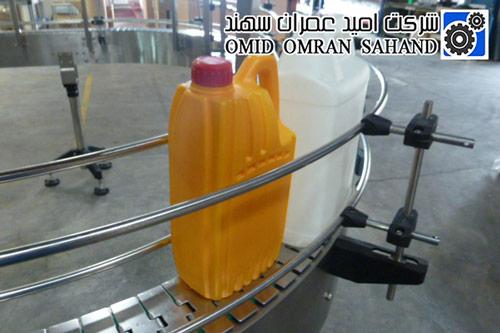 نوار نقاله پلاستیکی و استیل برای حمل ظرف روغن